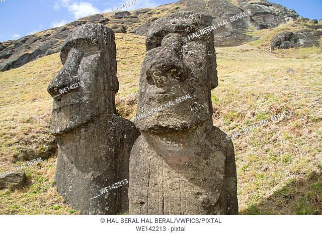 Statues (moai) at Rano Raraku. Easter Island, Chile