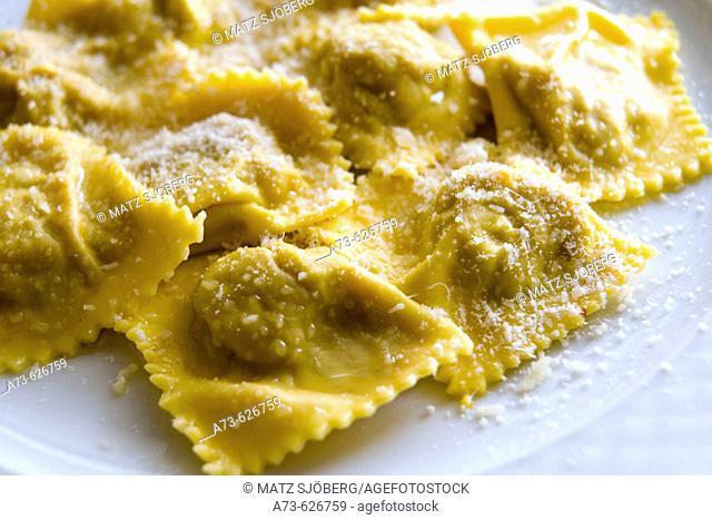 La Fragoletta Restaurant,  typical 'Tortelli di Zucca'. Mantova. Lombardy, Italy