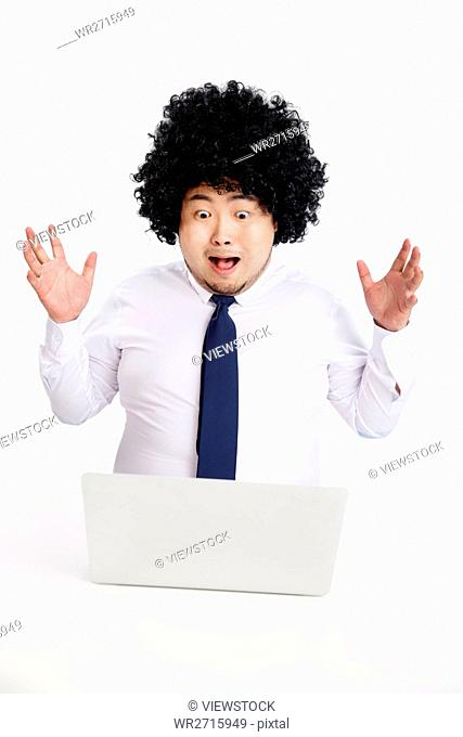 Obese business men use computers