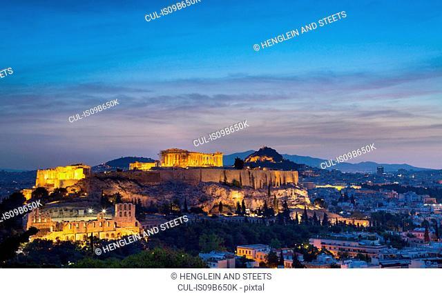 The Acropolis illuminated at night, Athens, Attiki, Greece, Europe