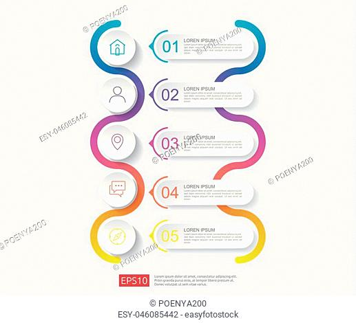 5 steps infographic. timeline design template with 3D paper label, integrated circles. Business concept with options. For content, diagram, flowchart, steps
