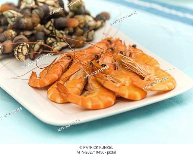 Spanish seafood on tray
