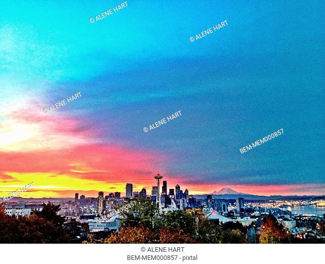 City skyline against colorful sky, Seattle, Washington, United States