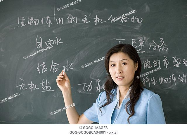 Teacher pointing to the chalkboard