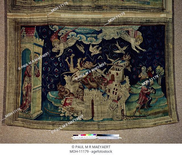 La Tenture de l'Apocalypse d'Angers, La chute de Babylone envahie par les démons 1,48 x 2,40m, der Untergang Babylons