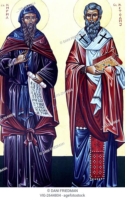 An Orthodox icon depicting Saints Cyril and Methodius. Saints Cyril and Methodius were two Byzantine Greek brothers born in Thessaloniki in the 9th century