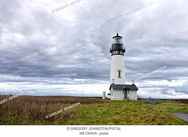 The picturesque Yaquina Bay Lighthouse in Newport, Oregon