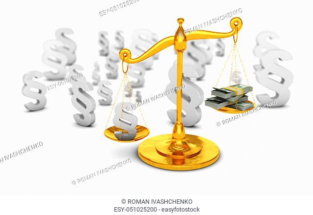Paragraph sign and dollars banknotes on golden scales. 3d render