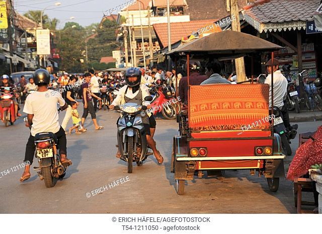 Cambodian motorcycle rickshaw in Siem Reap