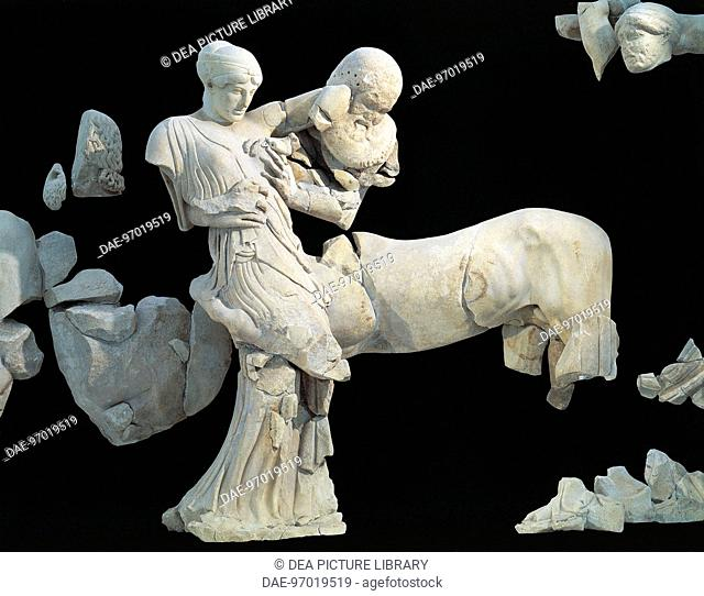 Greek civilization, 5th century b.C. Eurytion kidnapping Deidameia, detail of the west pediment of the temple of Zeus at Olympia, height 3.10 m