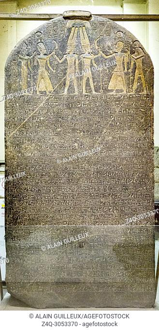 Egypt, Cairo, Egyptian Museum, stele of Merenptah, reused from Amenhotep III. First mention of Israel