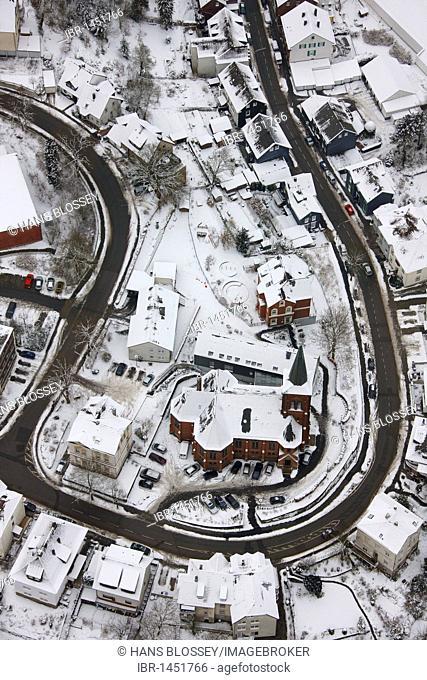 Aerial view, snow, Milspe, Ennepetal, North Rhine-Westphalia, Germany, Europe