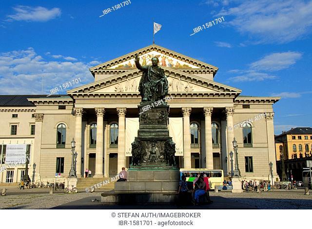 Monument of King Joseph Maximilian II of Bavaria made of bronze, opera building, National Theatre, Bavarian State Opera, Max-Joseph-Platz square, downtown