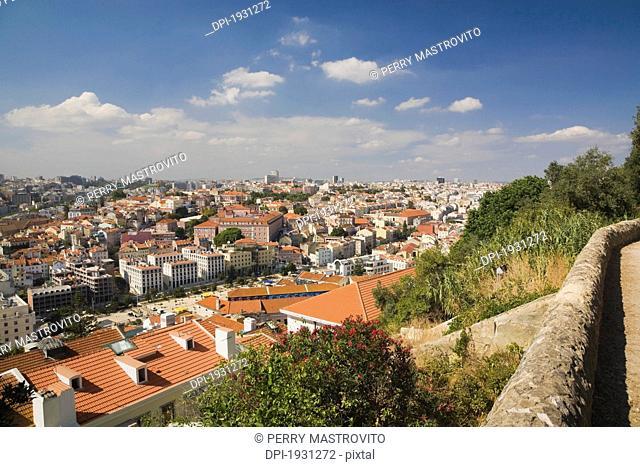 city skyline from castle of sÒo jorge, lisbon, portugal