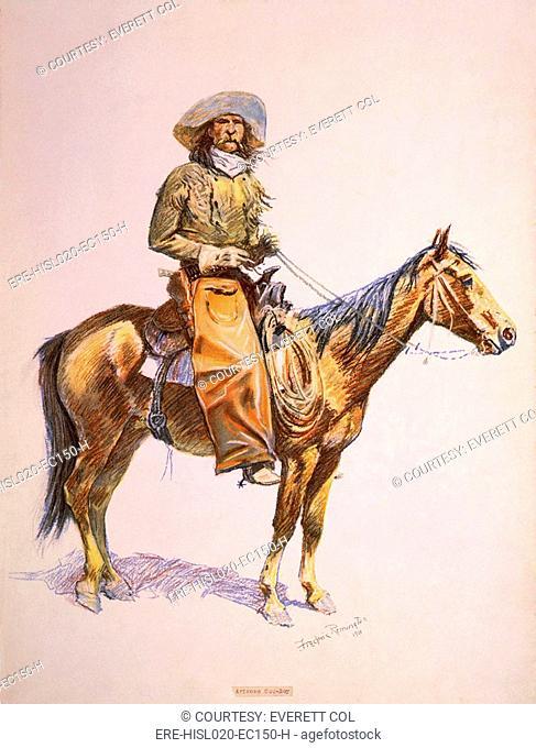 Arizona cow-boy on horseback. Pastel drawing by Frederic Remington, ca. 1900