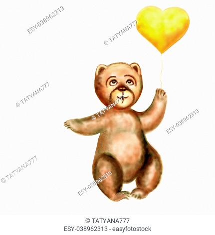 The bear cub holds a yellow heart in a paw. Horizontal raster illustration. It is isolated on the white