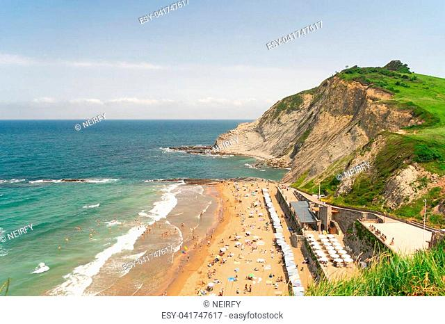 Itzurun beach and flysch rocks from above, Zumaia coast of Pais Vasco Spain
