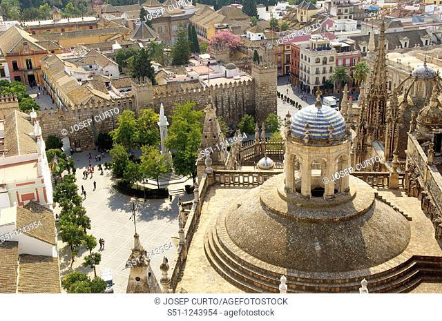 Plaza del Triunfo, cathedral, Sevilla, Andalucia, Spain