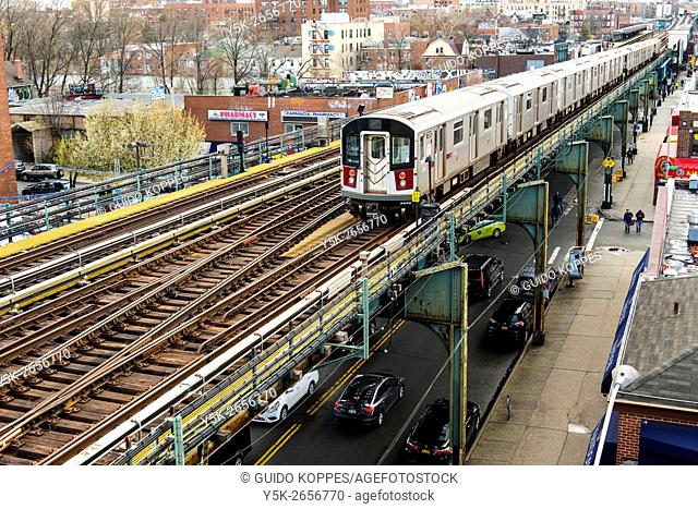New York City, USA. Elevated subway track on Roosevelt Avenue, Queens