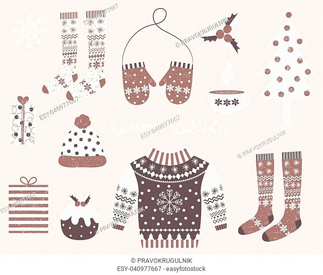 Vector winter clothes and symbols in flat style i brown and white colors for invitations, greeting cards and designs