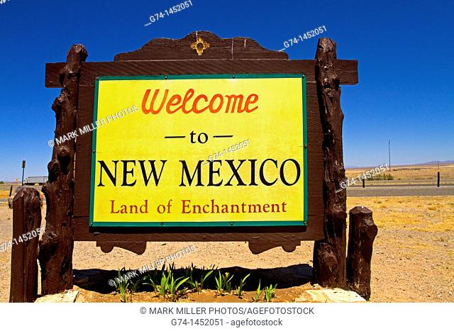 Welcome to New Mexico State Highway Sign, New Mexico, USA