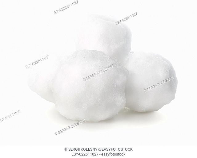Balls of snow isolated on white background