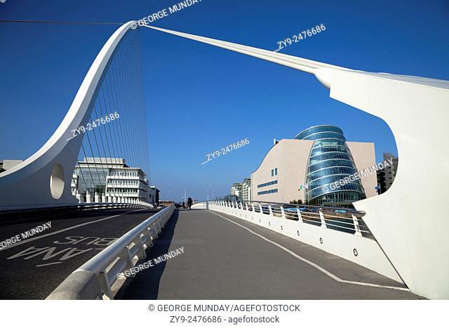 The Samual Beckett Bridge over the River Liffey, and Dublin Convention Centre, Dublin City, Ireland