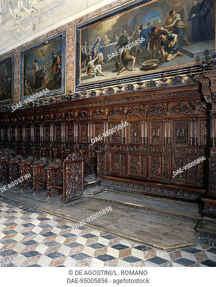 Choir of the Abbatial Basilica of San Martino delle Scale, 16th century, Monreale, Sicily, Italy