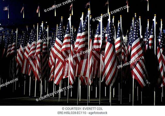 2974 American Flags representing the lives lost in the terrorist attacks of September 11 2001 were displayed at the Pentagon when President George W