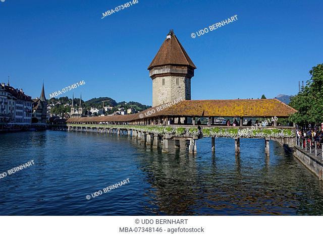 Kapellbrücke and Water Tower, Lucerne, Lake Lucerne, Canton of Lucerne, Switzerland