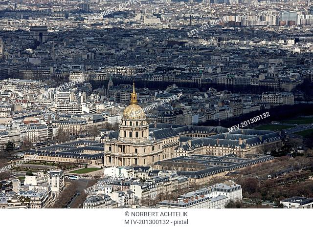 High angle view of hotel in city, Hotel Des Invalides, Paris, France