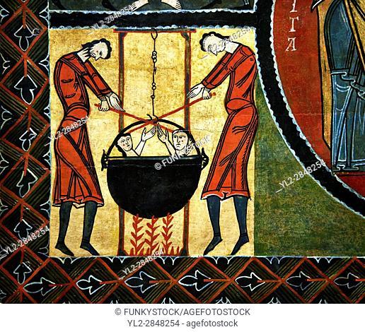 12th century Romanesque painted altar front from Saint Quirc de Durro, Val de Boi, Alta Ribagorca, Spain, showing scenes depicting the martyrdom of saints