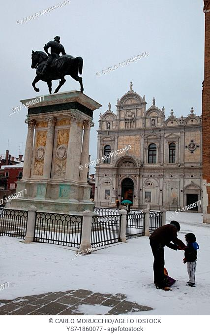San Giovanni e Paolo square and Colleoni equestrian monument during a snowfall, Venice, Italy, Europe