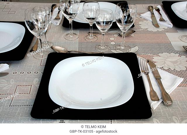 plates, cutlery, glass and bowls, Brazil