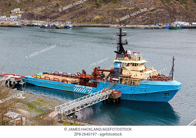 The Maersk Chignecto docked in St. John's Harbour. St. John's, Newfoundland, Canada