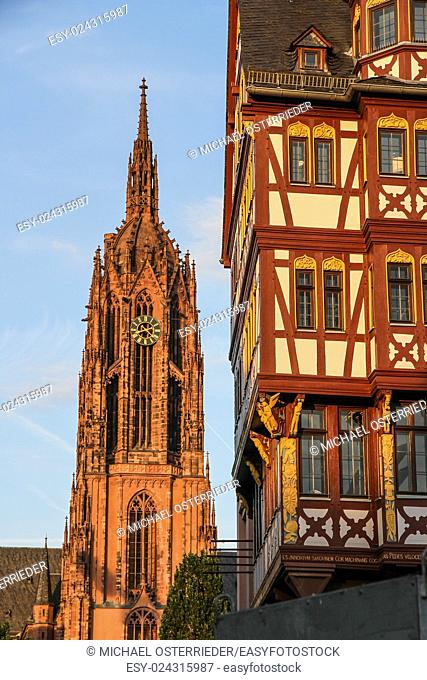 Historic center of Frankfurt am Main in Hessen, Germany with the Cathedral in the background