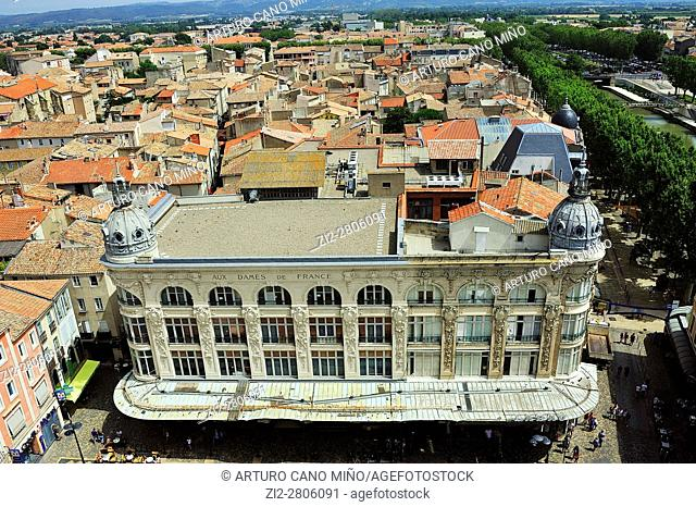 The former department store Aux Dames de France, XIXth century. Narbonne city, Aude department, Occitanie region, France