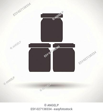 Baby glass jars icon on gray background, round shadow. Vector illustration