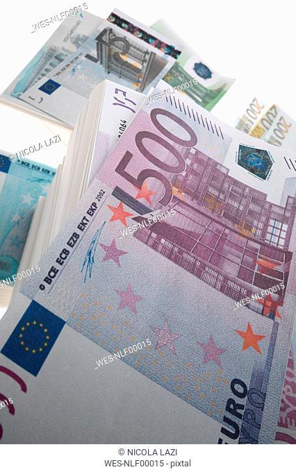 Euro banknotes, close up