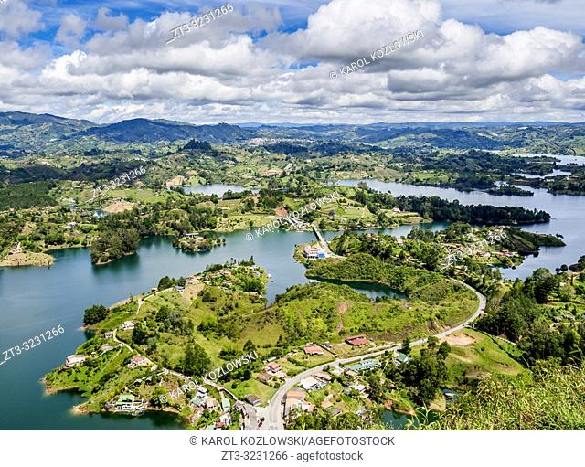 Embalse del Penol, elevated view from El Penon de Guatape, Rock of Guatape, Antioquia Department, Colombia