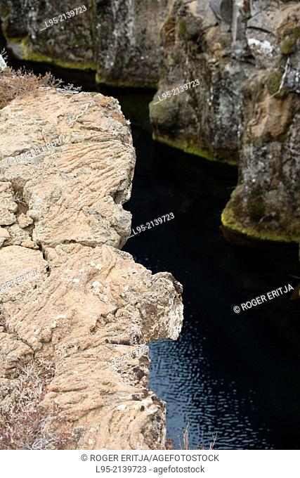 Noted geological area of Thingvellir in Iceland where the underground American and European plates are diverging by 2 centimeters a year