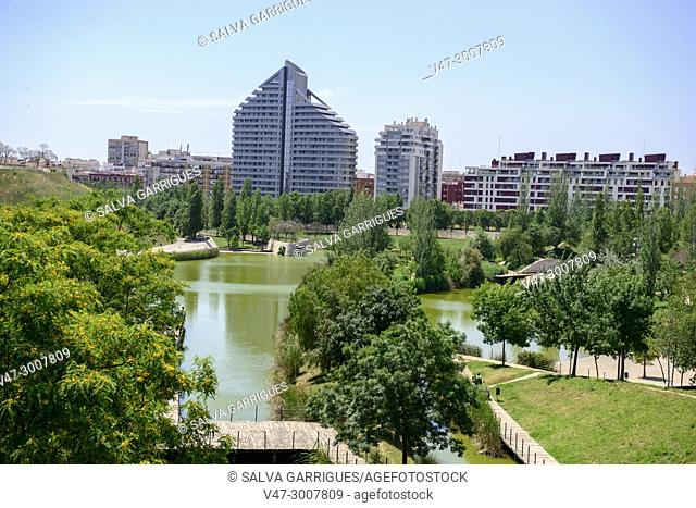 Panoramic view of the city of Valencia from Parque de Cabecera, Spain, Europe