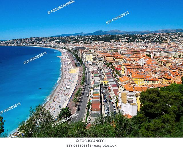 Panoramic view of the Azure coast on a summer day in Nice, French Riviera, France
