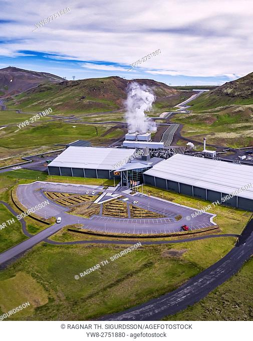 Hellisheidi Geothermal Power Plant, Iceland. This image is shot using a drone