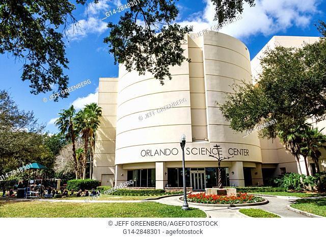 Florida, Orlando, Loch Haven Park, cultural park, Orlando Science Center, exterior, science museum, contemporary design, front, entrance