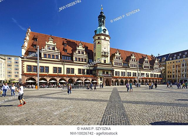 Market with old town hall in Leipzig, Saxony, Germany