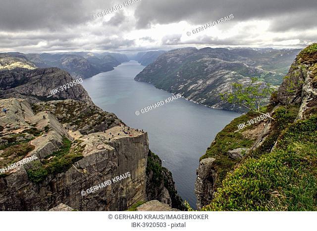 Preikestolen, Pulpit Rock at Lysefjord, Rogaland province, Vestland or Western Norway, Norway