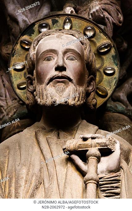 St James the Apostle on the mullion of the Pórtico de la Gloria, 12th century Romanesque portico of the catedral, Santiago de Compostela, Way of St James