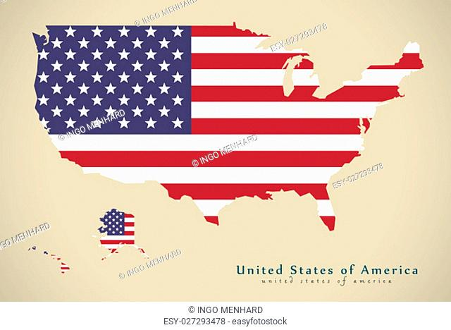 Modern Map - United States USA with flag illustration silhouette
