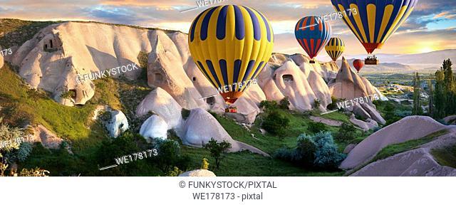 Hot Air Baloons over Goreme at sunrise , Cappadocia Turkey